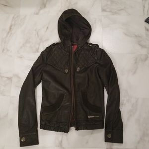 Superdry Leather hooded jacket
